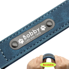 Personalized Dog Collar Custom Leather Dog Collars Inner Padded Pet ID Collar For Small Medium Large Dogs Pitbull Bulldog