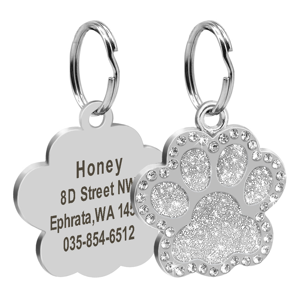 Dog Tag Engraved Crystal Paw Pet Id Tags Personalized  Stainless Steel