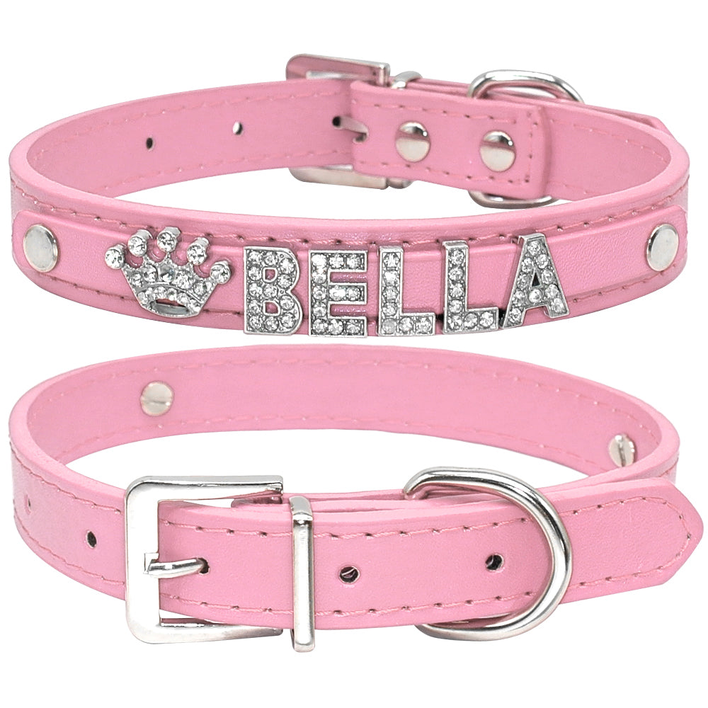 Bling Rhinestone Puppy Dog Collars Personalized Small Dogs Chihuahua Collar Custom Necklace