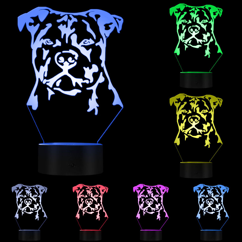 Modern Staffordshire Bull Terrier LED Night Light Animal Pet Dog Puppy 3D Optical illusion Lamp Home Decor Table Lamp Desk Light