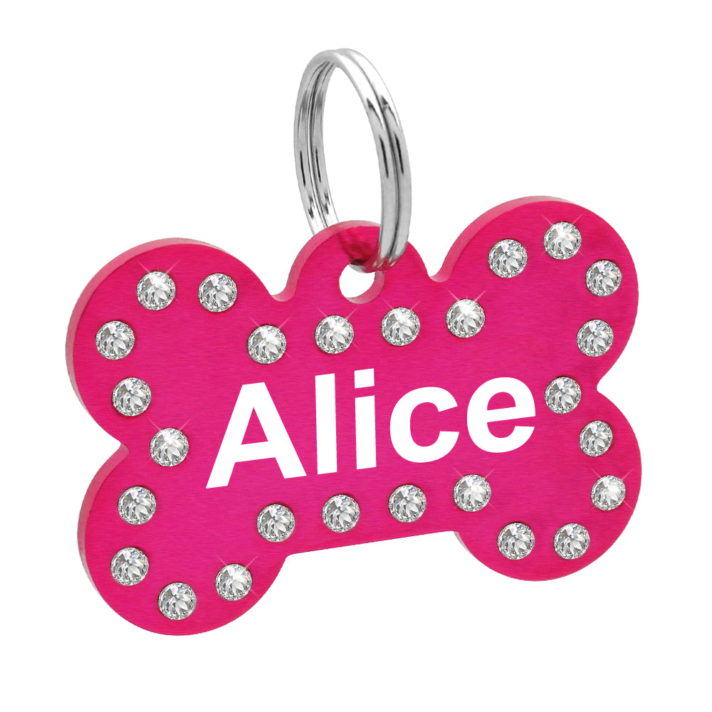 Personalized Crystal Dog ID Tag Customized Rhinestone Bone Shape