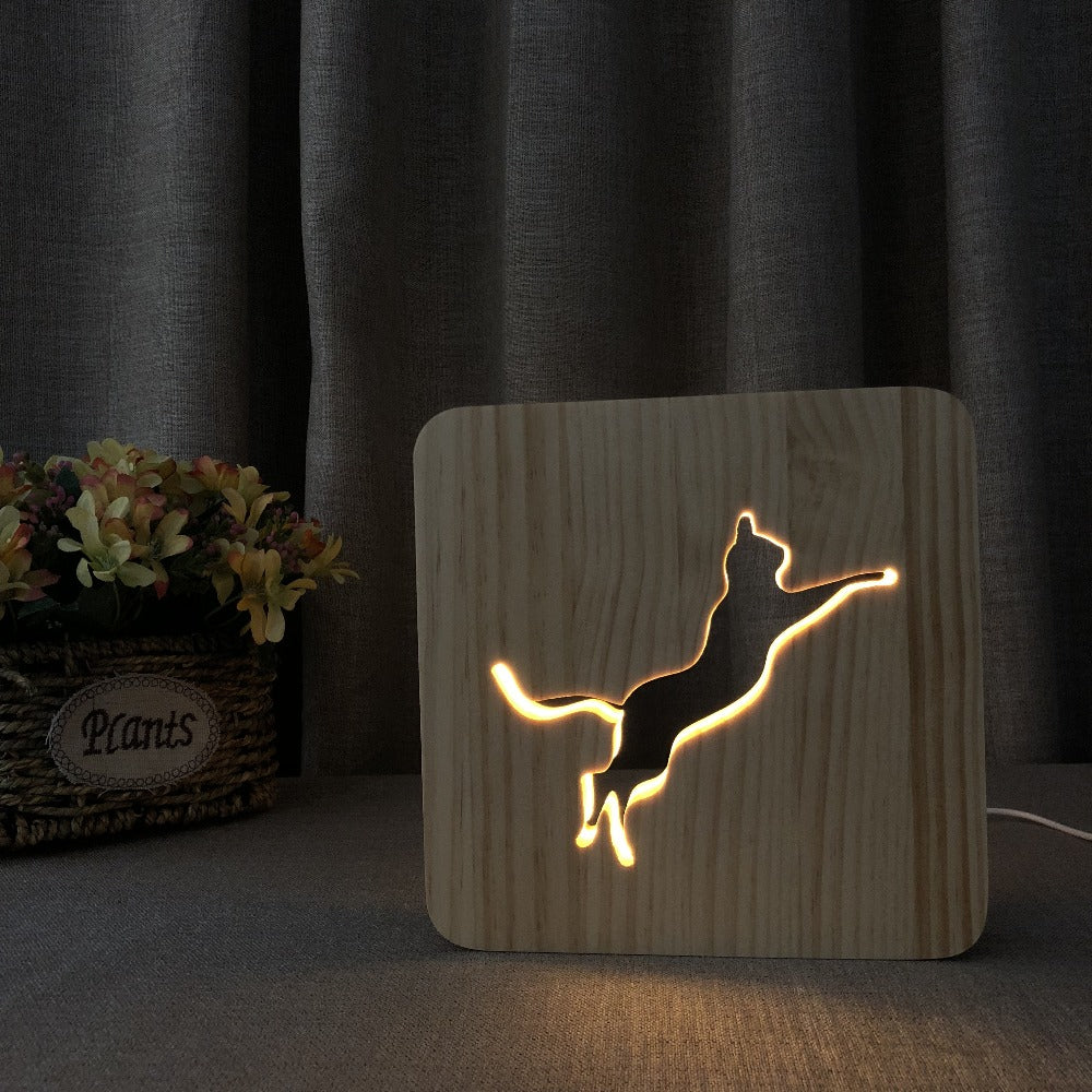 Creative Wooden Personalized Lamp Kids Bedroom Decoration Warm Light French Bulldog LED USB Night Light