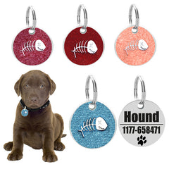 Personalized engraving Pet ID tags dog cat round tags fish bone dog tags identification customized name and phone