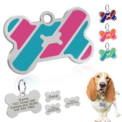 Dog ID Tag Custom Metal Pet Tags Stainless Steel Small Large Dog Collar