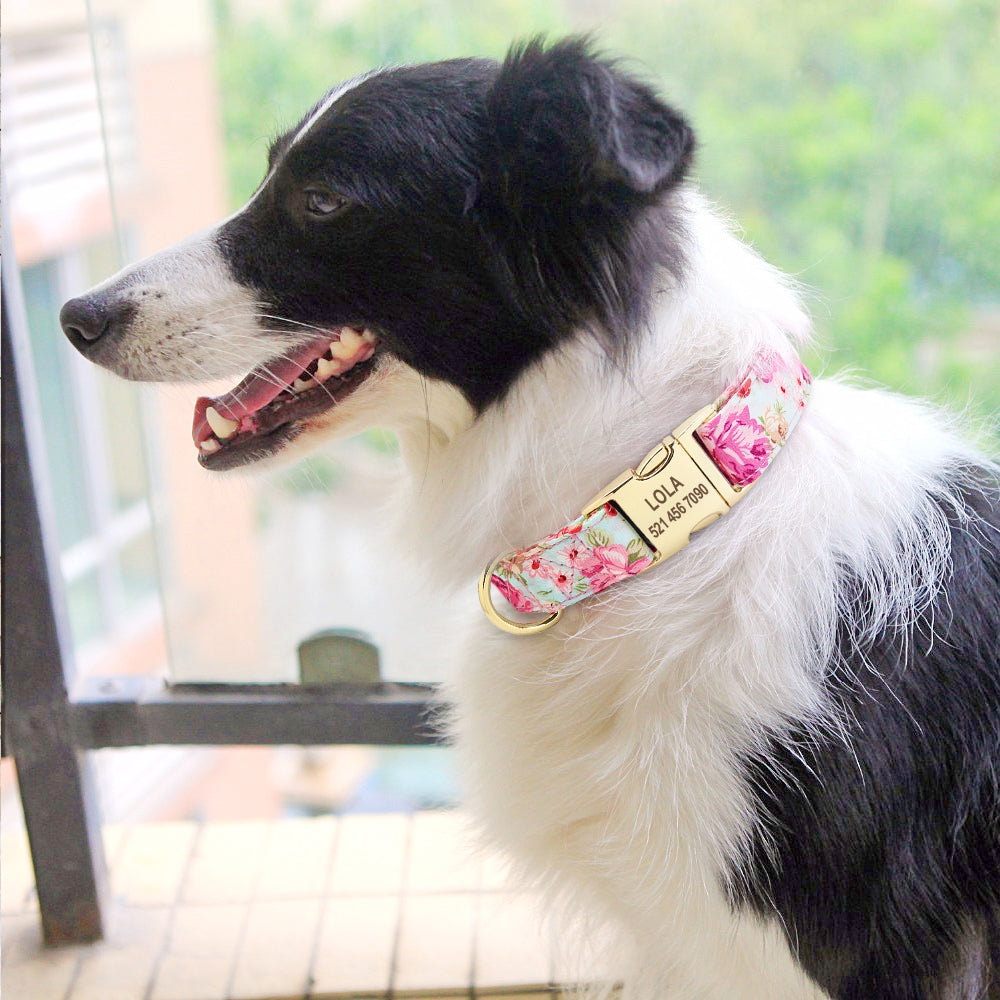 Dog Tag Collar Personalized Pet Puppy Nameplate Collar Custom Nylon Engraved Cat Dog ID Collars Adjustable For Medium Large Dogs