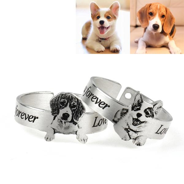 Personalized Pet Photo Engraved Ring Sterling Silver