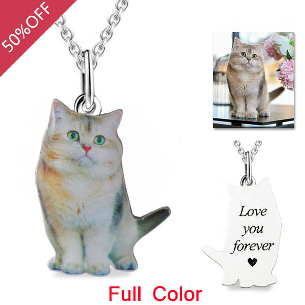 Personalized Engraved Pet Dog Cat Full Color Photo Necklace Sterling Silver