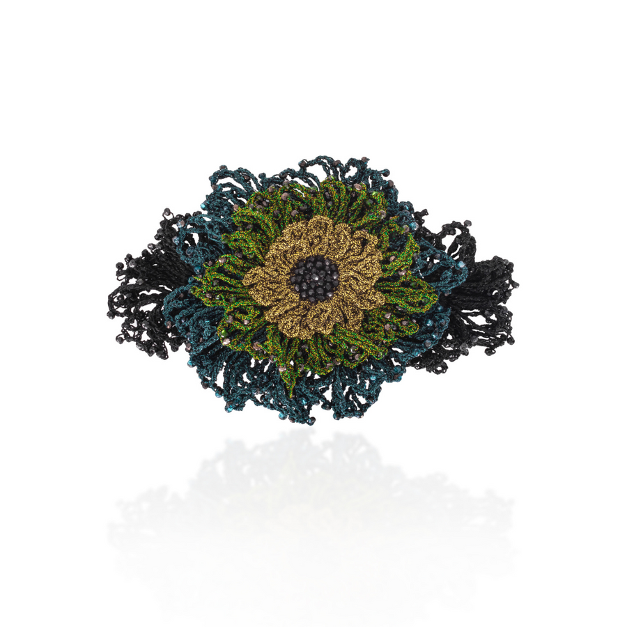 Rose Barrette Green/Black