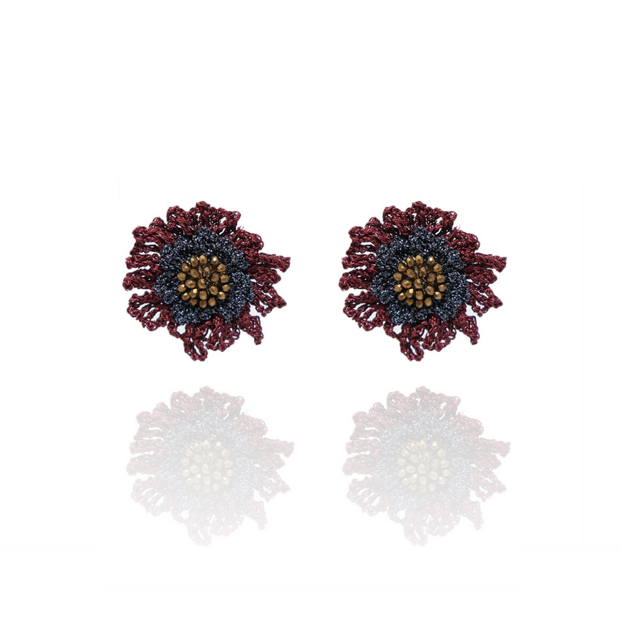 Double Rose Stud Red / Copper