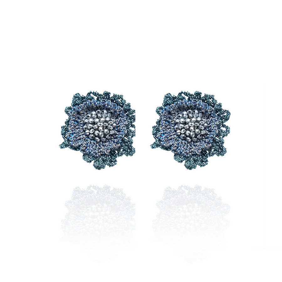 Double Rose Stud Blue/ Silver