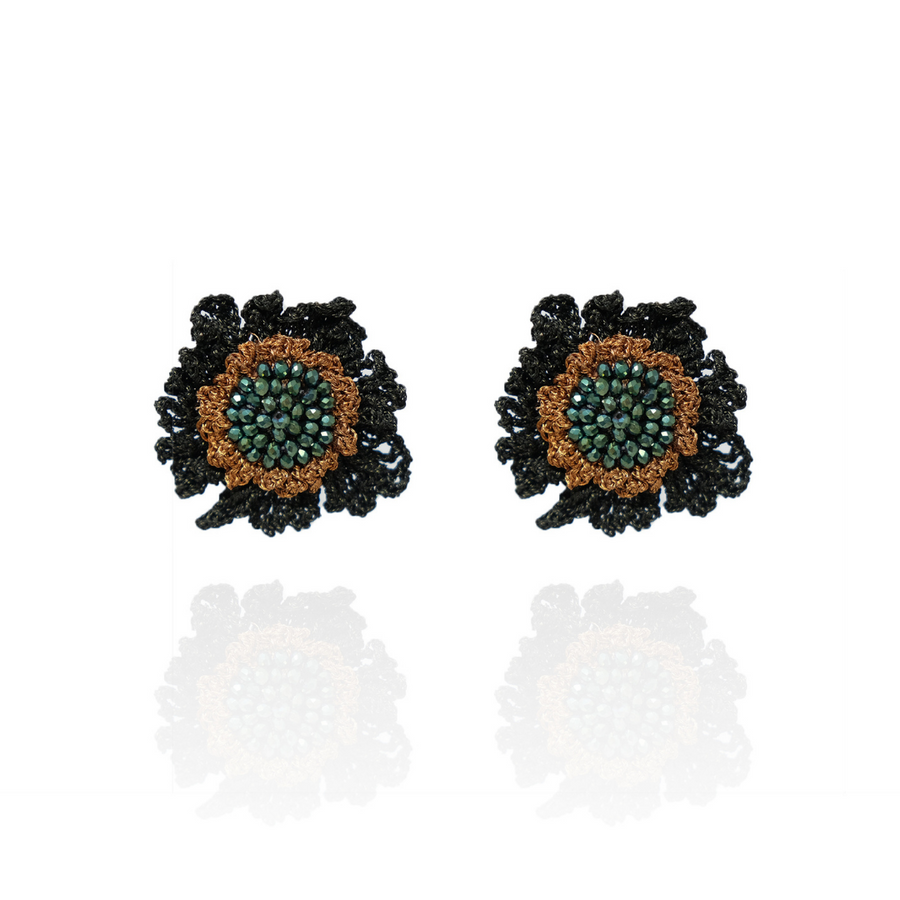 Double Rose Stud Green / Copper