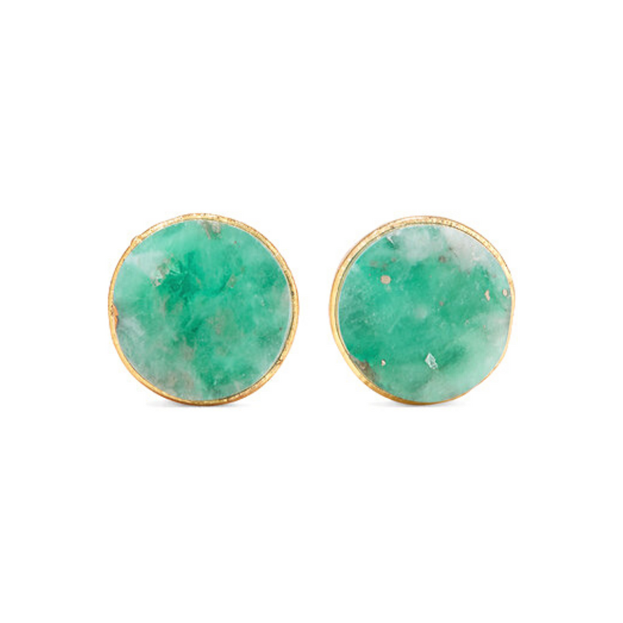 Aureliano Emerald Gold Plated Studs