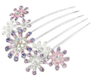 Exquisite Full Colors Crystal Rhinestone Petal Tuck Comb - aidaroos.com