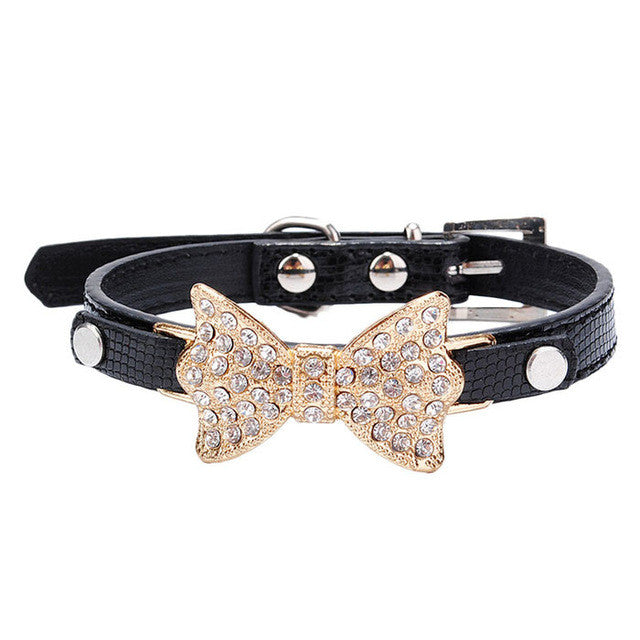 Dog Collars Bowknot  Bling Rhinestones Dog Collar Pets Collar Dog Neck - aidaroos.com