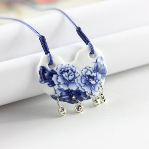 Butterfly Flower Ceramic Necklace Natural Stone - aidaroos.com