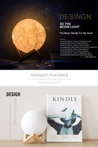 Rechargeable Moon Lamp 2 Color Change 3D Light Touch Switch - aidaroos.com