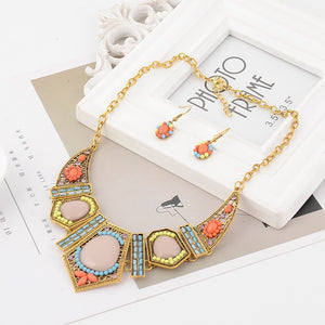 Gold Color Boho Crystal Collar Choker Necklace - aidaroos.com