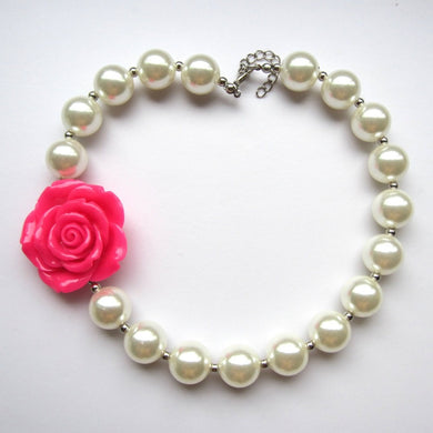 Girls Rose Flower Pearl Necklace - aidaroos.com