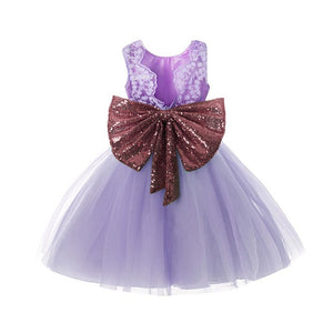 Princess Girl Sequins Boknot Dress - aidaroos.com