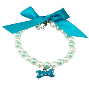 Bow Pearl Collar Pet Accessories - aidaroos.com