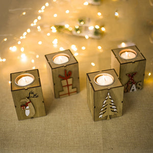 Navidad 2018 Wood Candle Holders Tealight Candlesticks Lantern Vintage Christmas Decorations - aidaroos.com