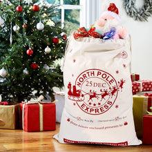 Load image into Gallery viewer, Canvas Santa Bags with Drawstring Christmas Gift Large - aidaroos.com