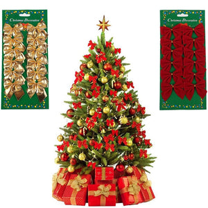 12 Pcs / Set Lovely Bow Christmas Tree Decoration - aidaroos.com