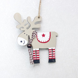 Deer Santa Claus Snowflake Natural Wood Christmas Ornaments - aidaroos.com