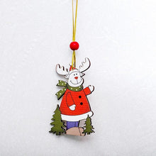 Load image into Gallery viewer, Deer Santa Claus Snowflake Natural Wood Christmas Ornaments - aidaroos.com