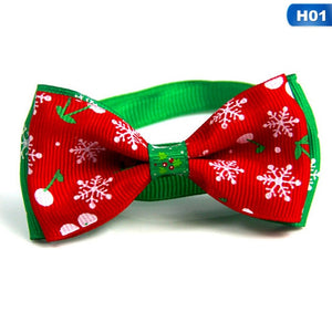 Christmas Holiday Pet Cat Dog Collar Bow Tie Adjustable Neck Strap - aidaroos.com