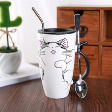 Load image into Gallery viewer, Cute Cat Ceramics Coffee Mug With Lid - aidaroos.com