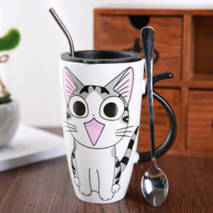 Cute Cat Ceramics Coffee Mug With Lid - aidaroos.com