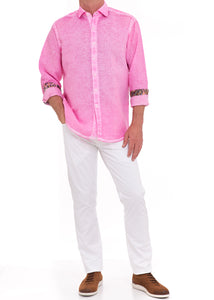 CORAL WASHED LINEN SHIRT