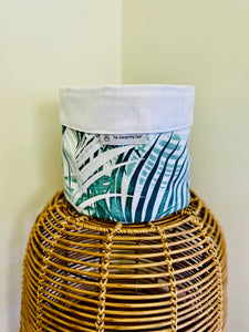 "Pot Cover ""White and Green Leaves"""