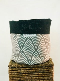 Pot Cover Charcoal Diamond Patterned