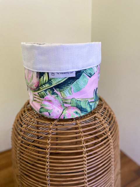 Pot Cover Pink and Green Palm