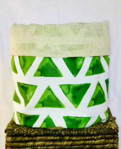 Pot Cover Green and White Triangle Patterned