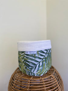 Pot Cover Green and White Palm Tree