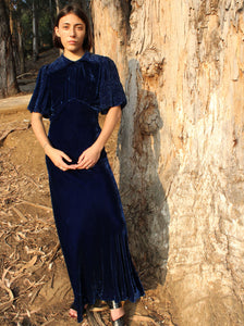 1930s Blue Silk Velvet Gown