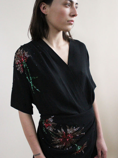 1940s Sequin Dress with Scarf