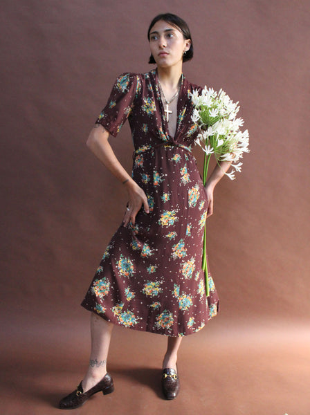 1940s Rayon Floral Dress