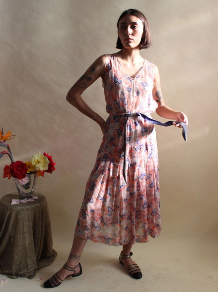 1920s Silk Chiffon Floral Dress