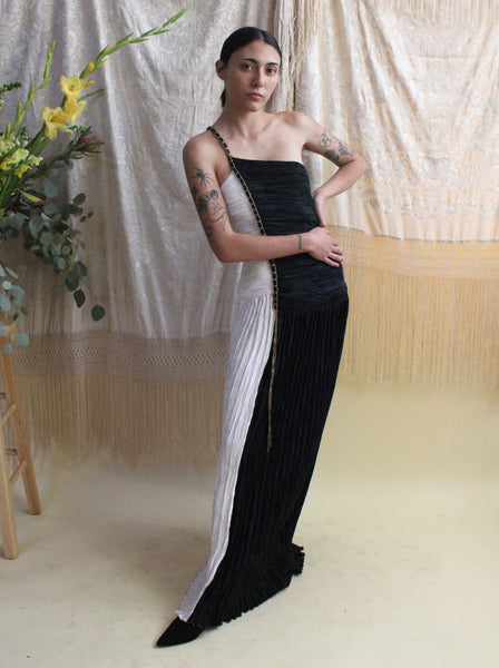 Mary McFadden One Shoulder Gown