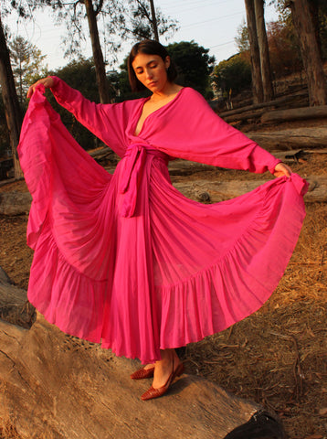 Hot Pink Silk Wrap Dress