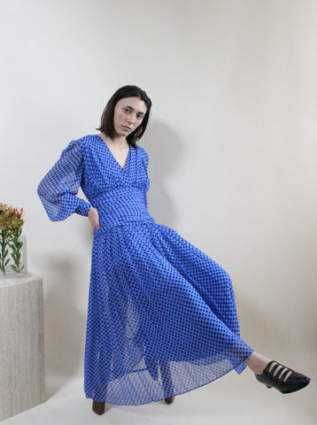 Silk Chiffon Polka Dot Dress