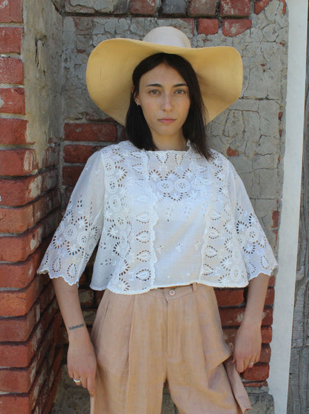 Victorian Cotton Eyelet Top