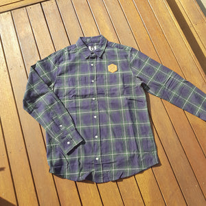 Flannel Shirt Faux Leather Patch - Green - Wings Out Industries Police