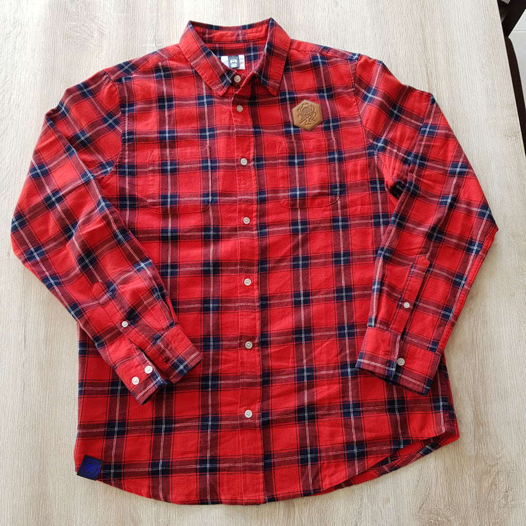 Flannel Shirt Faux Leather Patch - Red - Wings Out Industries Police