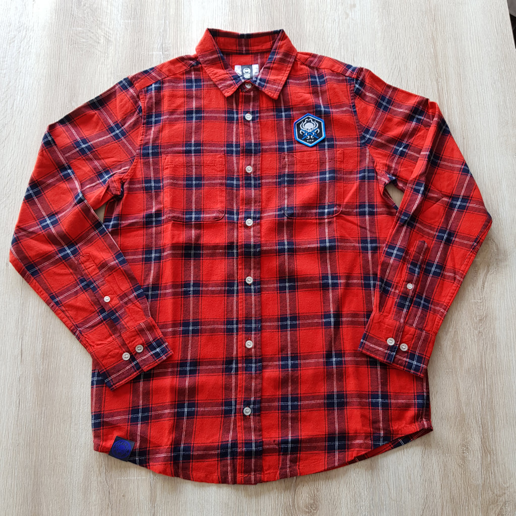 Flannel Shirt Blue Octopus Crossed Batons - Wings Out Industries