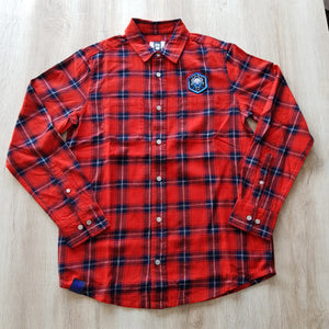 Flannel Shirt Blue Octopus Crossed Batons - Wings Out Industries Police